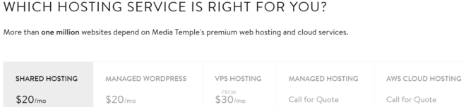 Compare web hosting on Media temple