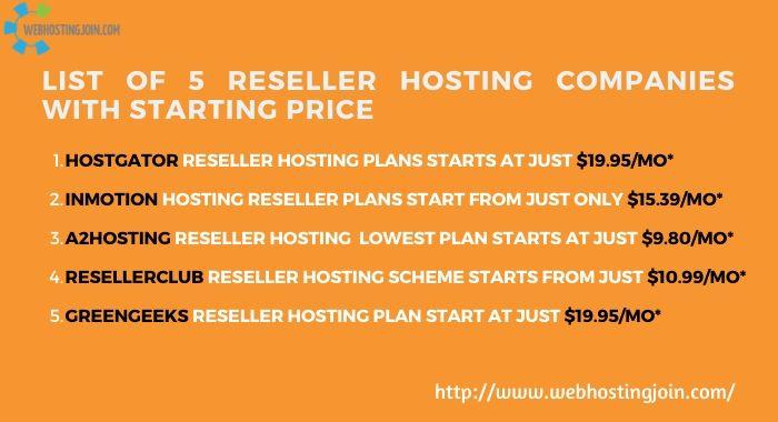 Top 5 Reseller Hosting providers